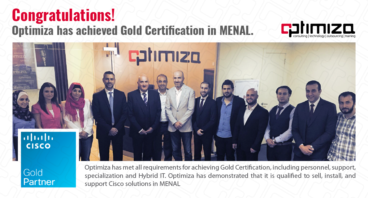 Optimiza Achieves Cisco Gold Certification In Menal